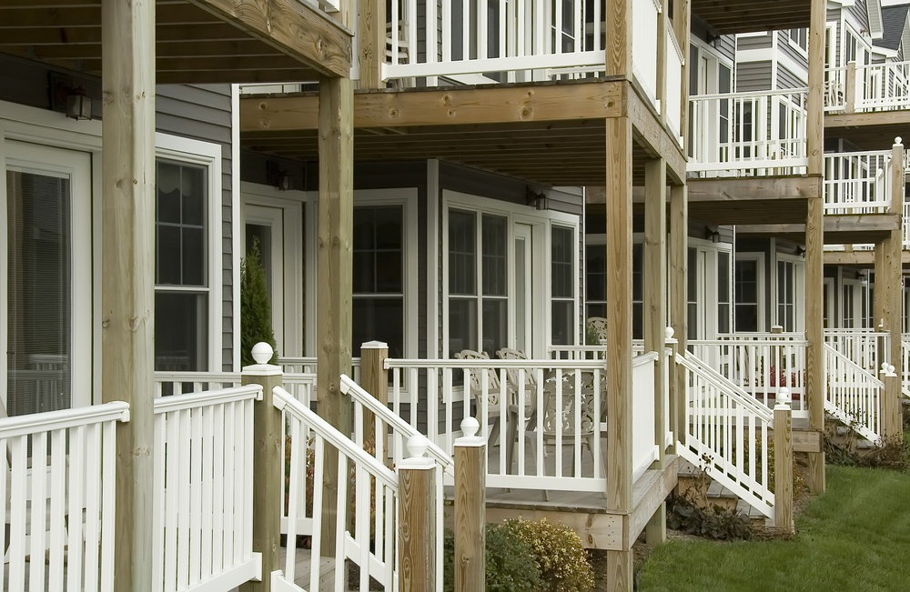 Front porches of similar summer homes