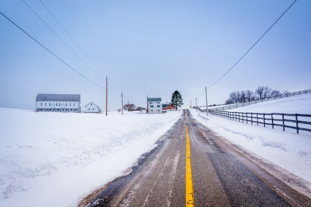 Snow covered farm along a country road in rural York County, Pennsylvania..jpeg